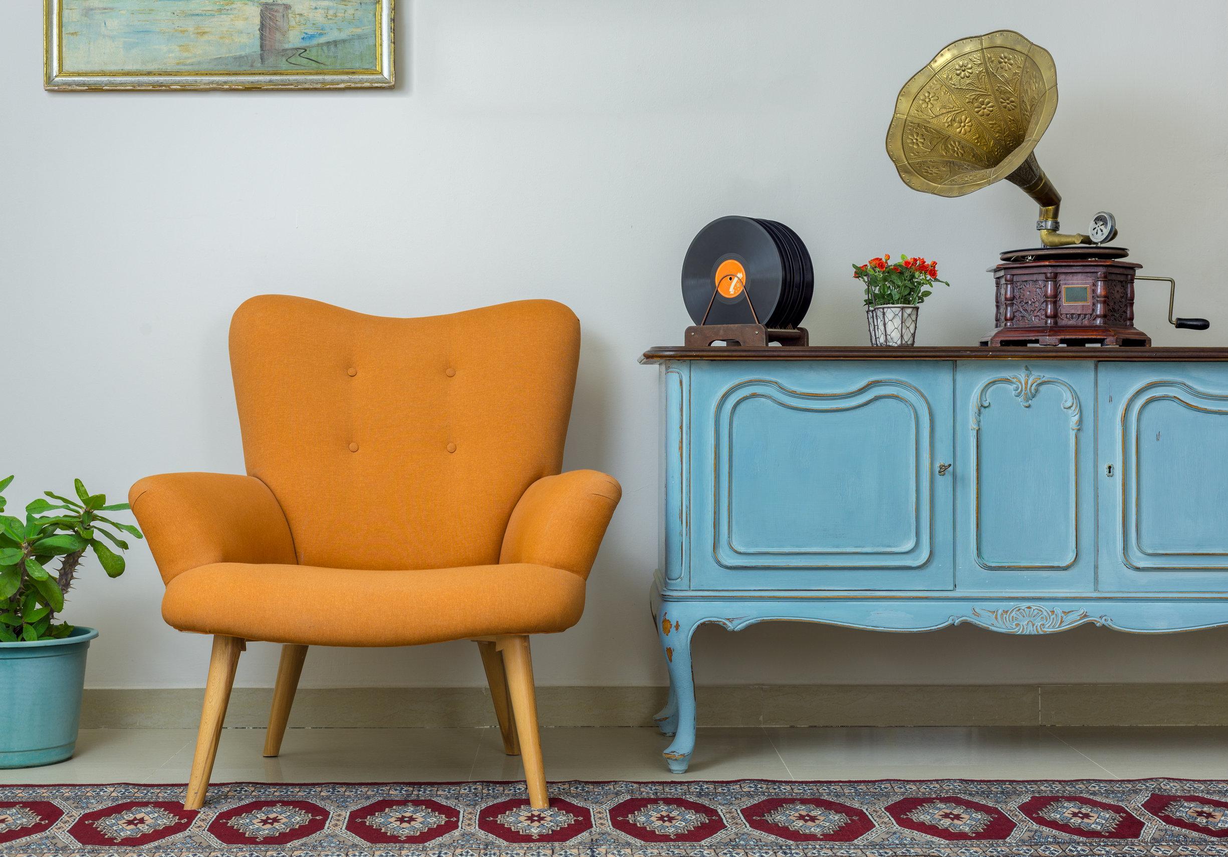 Retro Orange Armchair, Vintage Wooden Light Blue Sideboard, Old
