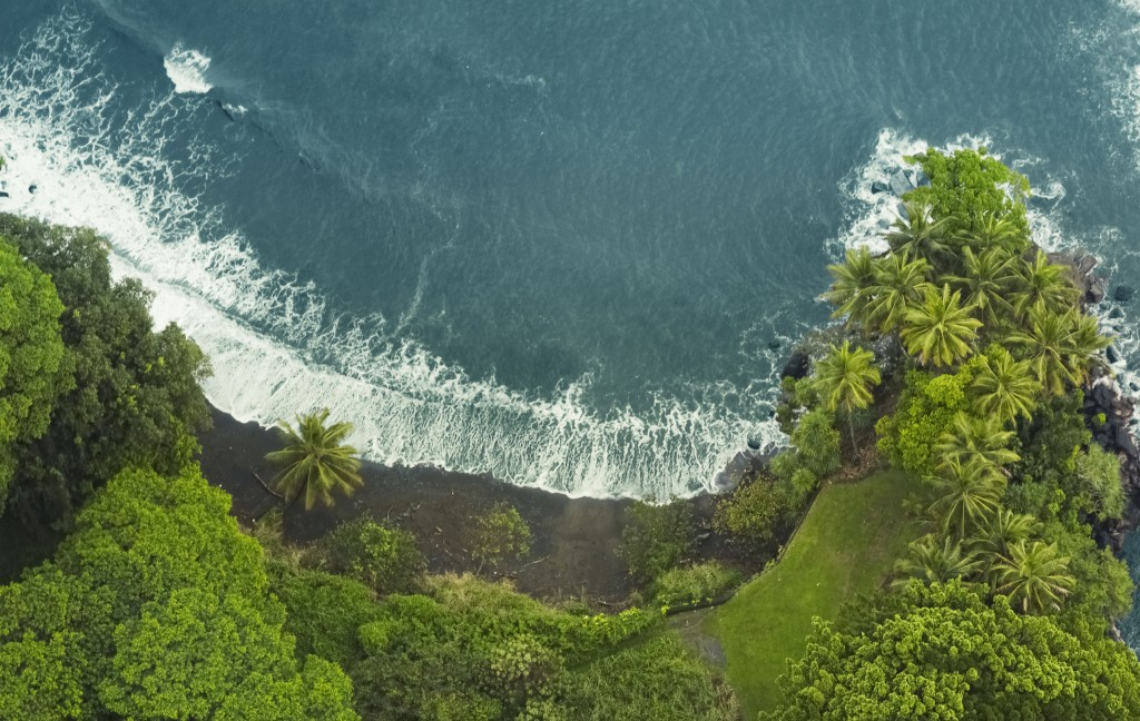 Aerial View Of A Secluded Black Sand Beach In Hawaii