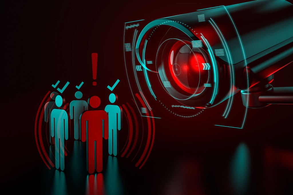 Giant Camera Checkes Group Of People As A Metaphor Of Ai Driven (artificial Intelligence) Surveillance System Taking Control Over World We Know Concept. 3d Rendering