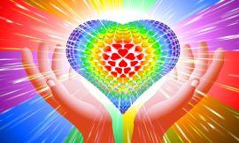 Hand Heart Light Beam Magic Power Love Background Rainbow Lgbt