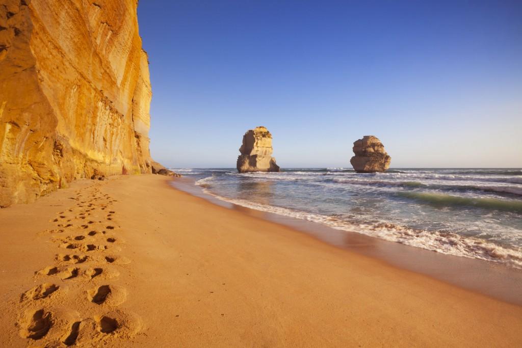 Twelve Apostles On The Great Ocean Road, Australia At Sunset