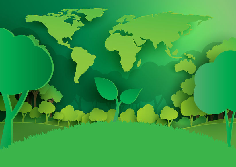 Nature Background Template Paper Art Style