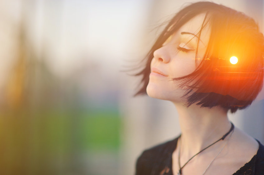 Double Multiply Exposure Portrait Of A Dreamy Cute Woman Meditating Outdoors With Eyes Closed, Combined With Photograph Of Nature, Sunrise Or Sunset. Closeup. Psychology Freedom Power Of Mind Concept.