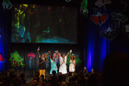 Ceibo Alliance representatives addressing the 2018 Bioneers Conference. Photo by Ayse Gursoz, Rainforest Action Network.