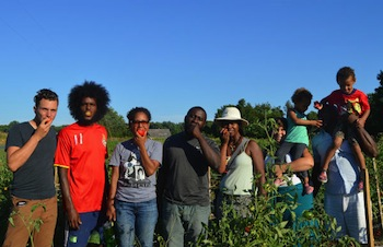 Blain Snipstal, second from left, with members of the Black Dirt Farm Collective. Photo courtesy Blain Snipstal.