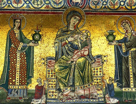 A detail from the mosaic on the façade of Rome's cathedral of Santa Maria.