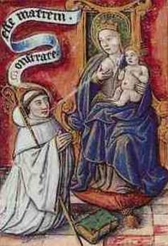 Bernard of Clairvaux drinks the milk of the Virgin Mary. Image via Wikimedia Commons.