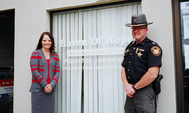 Michelle Carpenter and Jeffrey Paden at Haven of Hope's office in Cambridge, Ohio. Photo by Laura Michele Diener.